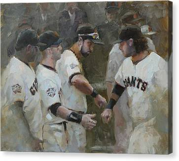 San Francisco Giants Canvas Print - World Series Fist Bump by Darren Kerr