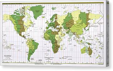 World Time Zones Canvas Print by Library Of Congress, Geography And Map Division