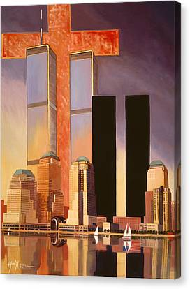 Canvas Print featuring the painting World Trade Center Memorial by Art James West