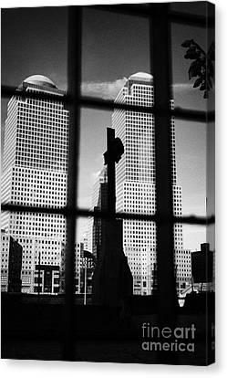 Manhatan Canvas Print - World Trade Center Memorial Cross With World Financial Centre Buildings Behind Ground Zero by Joe Fox