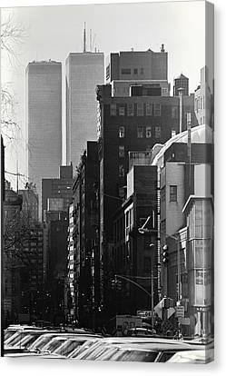 World Trade Center Street Scene - Black And White Canvas Print by Steven Hlavac