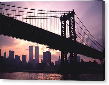 Canvas Print featuring the photograph World Trade Towers Manhattan Bridge At Sunset Nyc by Tom Wurl