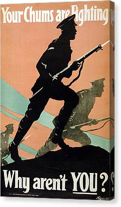 World War I 1914-1918 British Army Recruitment Poster 1917 Your Chums Are Fighting Canvas Print by Anonymous