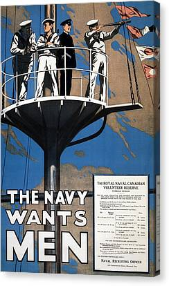 World War I 1914 1918 Canadian Recruitment Poster For The Royal Canadian Navy  Canvas Print by Anonymous