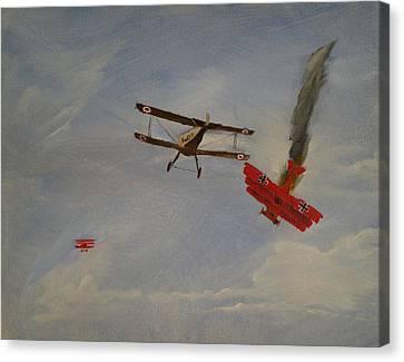 World War I Dogfight 3 Planes In Battle Canvas Print by Carl S Kralich