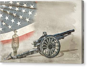 World War I Soldier And Cannon Canvas Print