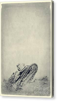 World War I Tank In Trench Warfare Canvas Print by Edward Fielding