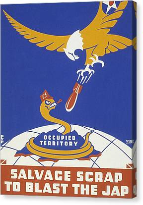 World War II 1939-1945 Anti Japanese Poster Sponsored By The Thirteenth Naval District Canvas Print by Anonymous