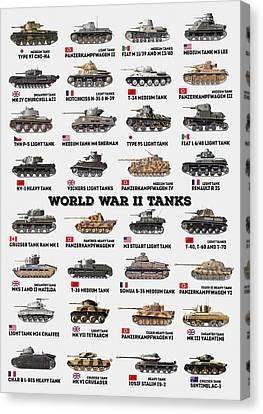 Canvas Print featuring the digital art World War II Tanks by Taylan Apukovska
