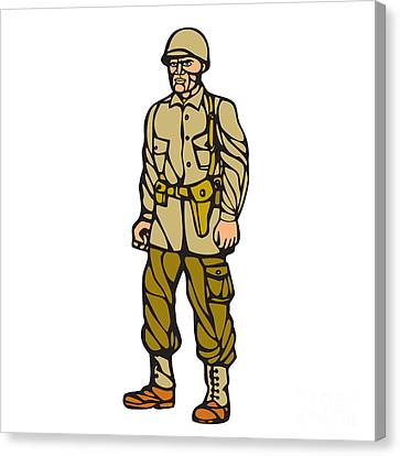 World War Two Soldier Standing Linocut Canvas Print by Aloysius Patrimonio