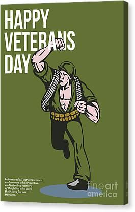 World War Two Veterans Day Soldier Card Canvas Print by Aloysius Patrimonio