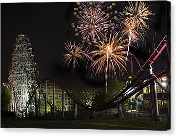 Worlds Of Fun - Summer Nights Canvas Print by Thomas Zimmerman