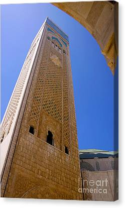 Canvas Print featuring the photograph Worlds Tallest Minaret At 210m Hassan II Mosque Grand Mosque Sour Jdid Casablanca Morocco by Ralph A  Ledergerber-Photography