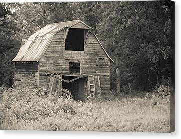 Old Country Roads Canvas Print - Worn Down Barn - Sepia by Gregory Ballos
