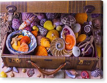 Worn Suitcase Full Of Sea Shells Canvas Print by Garry Gay