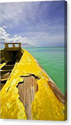Worn Yellow Fishing Boat Of Aruba Canvas Print