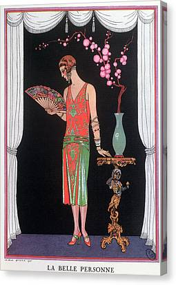 Worth Evening Dress Fashion Plate From Gazette Du Bon Ton Canvas Print by Georges Barbier