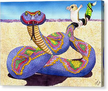 Kangaroo Canvas Print - Wrangled Razzle Dazzle Rainbow Rattler by Catherine G McElroy