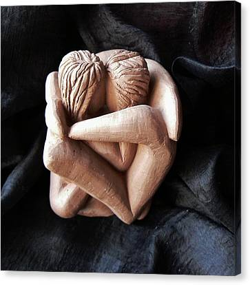 Canvas Print featuring the sculpture Wrapped Up In Each Other by Barbara St Jean