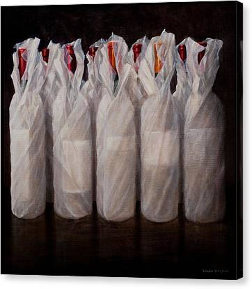 Wrapped Wine Bottles Canvas Print by Lincoln Seligman