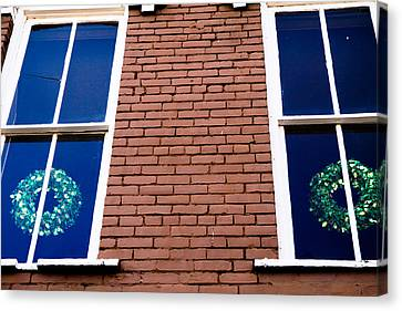 Wreaths In A Window Canvas Print by Audreen Gieger-Hawkins