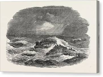 Wreck Of The Troop-ship Charlotte In Algoa Bay 1854 Canvas Print