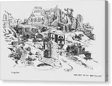 Ww Ii Canvas Print - Wrecked Street Thru St Lo France 1944 by David Neace