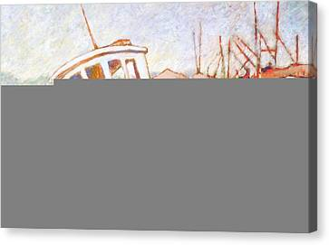Canvas Print featuring the painting Wrecked Tug by Charles Munn