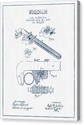 Wrench Patent Drawing From 1896- Blue Ink Canvas Print by Aged Pixel