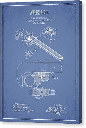Wrench Patent Drawing From 1896 - Light Blue Canvas Print by Aged Pixel