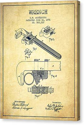 Wrench Patent Drawing From 1896 - Vintage Canvas Print by Aged Pixel