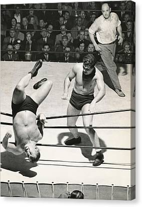 Referee Canvas Print - Wrestler Thrown Out Of Ring by Underwood Archives