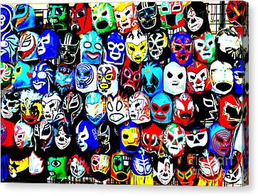 Wrestling Masks Of Lucha Libre Altered Canvas Print by Jim Fitzpatrick