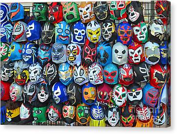 Wrestling Masks Of Lucha Libre Canvas Print by Jim Fitzpatrick