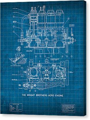 Wright Brothers Aero Engine Vintage Patent Blueprint Canvas Print