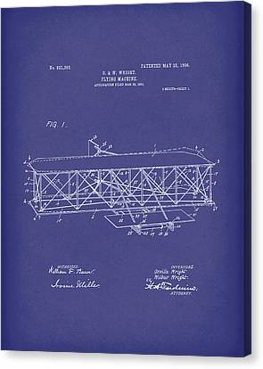 Wright Brothers Flying Machine 1906 Patent Art Blue Canvas Print by Prior Art Design