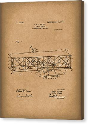 Wright Brothers Flying Machine 1906 Patent Art Brown Canvas Print by Prior Art Design