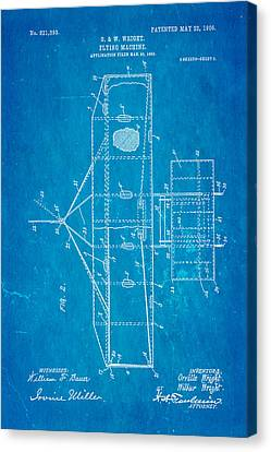 Wright Brothers Flying Machine Patent Art 2 1906 Blueprint Canvas Print