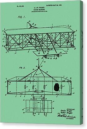 Wright Brothers Patent Green Canvas Print by Dan Sproul