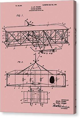 Wright Brothers Patent Red Canvas Print by Dan Sproul