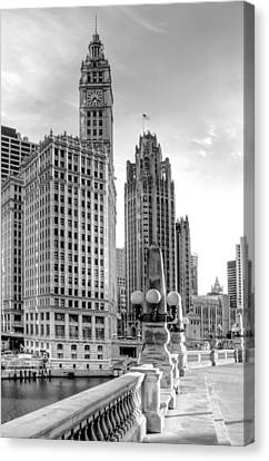 Wrigley And Tribune Canvas Print by Scott Norris