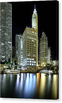 Wrigley Building At Night  Canvas Print by Sebastian Musial