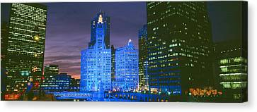 Winter Light Canvas Print - Wrigley Building, Blue Lights, Chicago by Panoramic Images