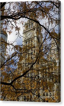 Wrigley Building In Autumn  Canvas Print by Leslie Leda
