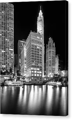 Wrigley Building Reflection In Black And White Canvas Print by Sebastian Musial
