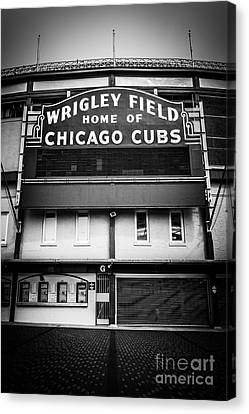 Building Canvas Print - Wrigley Field Chicago Cubs Sign In Black And White by Paul Velgos