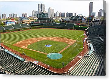 100 Years Old -- Wrigley Field In Green Canvas Print by David Bearden