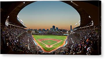 Baseball Fields Canvas Print - Wrigley Field Night Game Chicago by Steve Gadomski