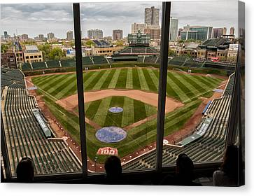 Wrigley Field Press Box Canvas Print by Tom Gort