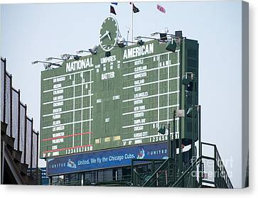 Wrigley Field Scoreboard Sign Canvas Print by Paul Velgos